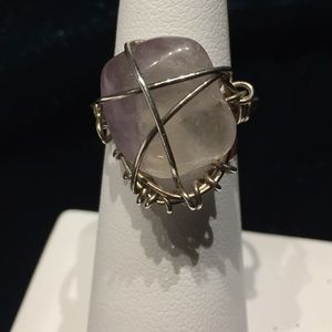 Silver wrapped genuine mystery stone, size 4.75